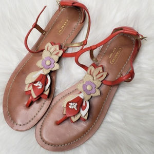 Coach sandals | Leather Floral Sandals size 10